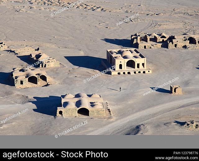 Empty building near the silence towers on the outskirts of the desert city of Yazd in Iran, taken on November 17, 2017. Zarathustrians who had died until 1960...