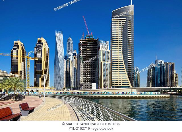 Dubai Marina is a district in the heart of what has become known as 'new Dubai' in Dubai, United Arab Emirates. Dubai Marina is a canal city
