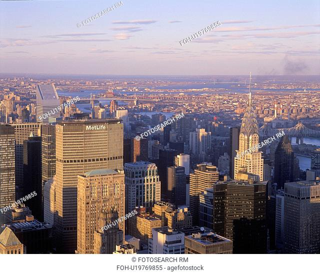 View of downtown and horizon from Empire State Building, New York City, New York