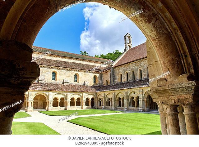 Cloister, Abbaye Royale de Notre Dame de Fontenay, Fontenay Cistercian Abbey, Montbard, Côte d'Or, Burgundy Region, Bourgogne, France, Europe