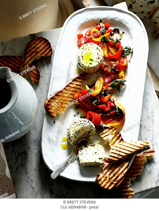 Ricotta with roasted peppers and grilled sourdough