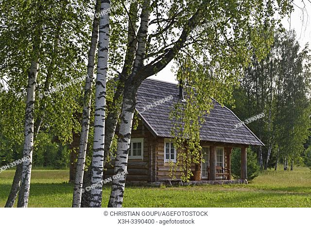 log house, Miskiniskes rural accommodations, Aukstaitija National Park, Lithuania, Europe
