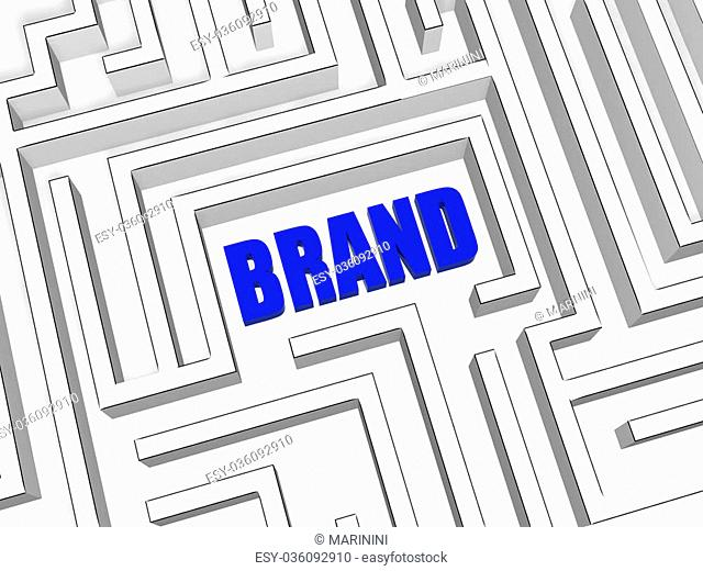 brand in the centre of labyrinth, 3d blue business concept word
