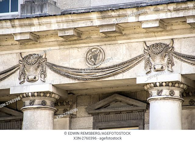 Dublin, Ireland- Detail of decorative reliefs on the exterior of the Custom House, a neoclassical 18th-century building in Dublin
