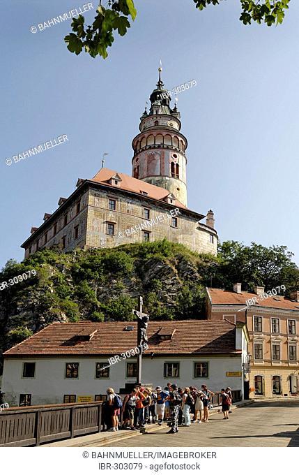Cesky Krumlov Krumau at the Moldau Vltava Bohemian Forest Sumava Czech Republik castle with tower