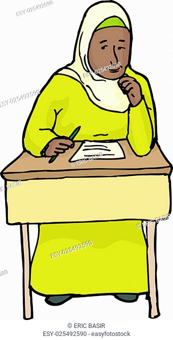 Cartoon of single student with hijab daydreaming