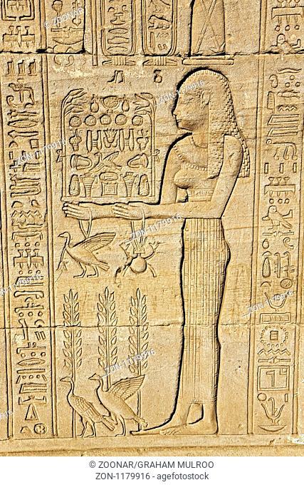 Egypt Denderah Wall Plaque Depicting Goddess Making Offerings