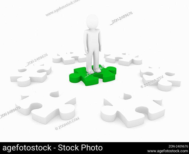 3d human puzzle circle red teamwork success