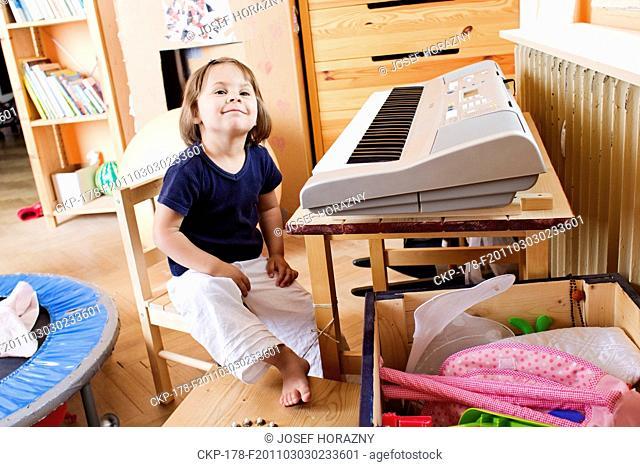 child, baby, girl, childhood, keyboard, keys, key lever