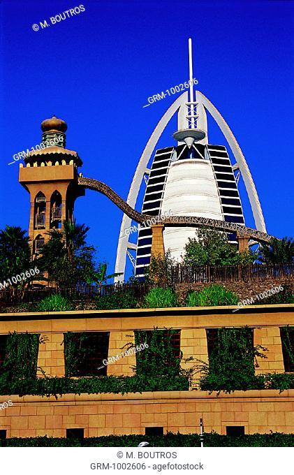 Wild Wadi Water Park and Burj Al Arab hotel in Dubai, UAE