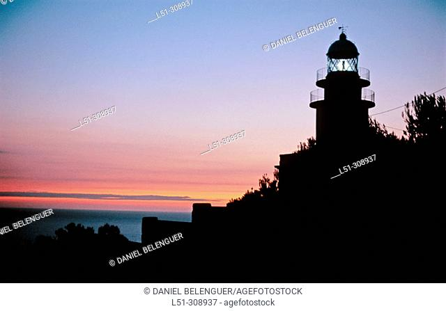 Lighthouse in San Antonio Cape. Montgo Natural Park. Alicante province, Spain
