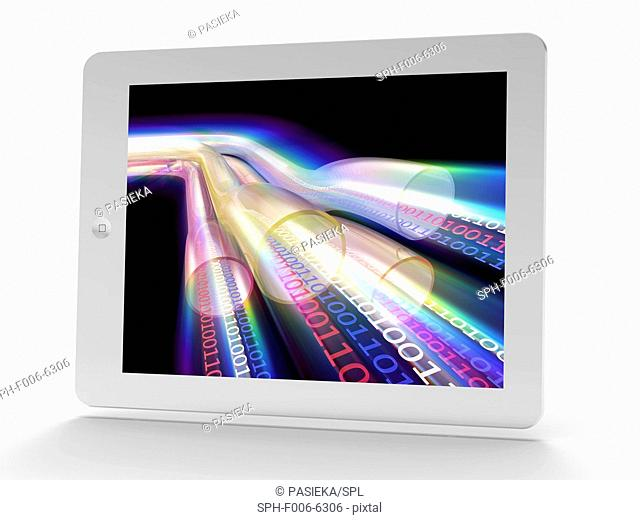 Tablet computer showing conceptual artwork of data transfer in super high-speed cables