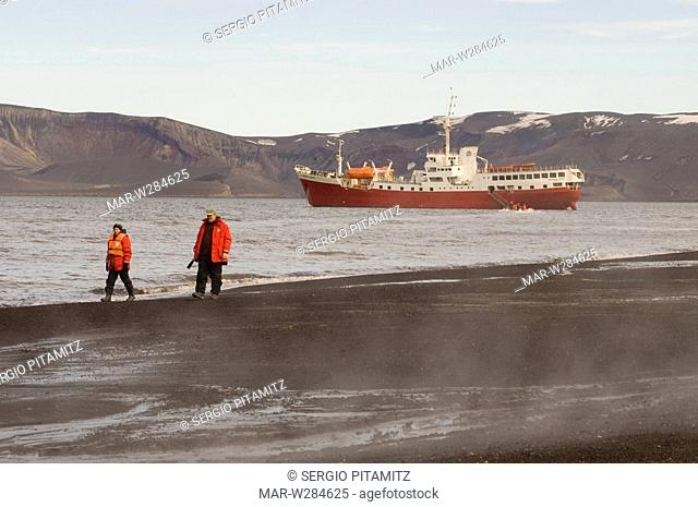 Antarctica, South Shetlands Islands, Deception Island, Antarctic Drean ship