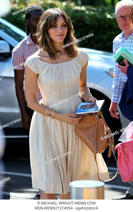 Katharine McPhee at Universal Studios where she was interviewed by Mario Lopez for entertainment show Extra. Katharine is seen not wearing any rings on her...