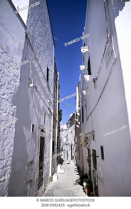 The characteristic white pedestrian streets of the city of Ostuni Puglia Italy