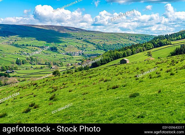 Yorkshire Dales landscape near Gunnerside, North Yorkshire, England, UK