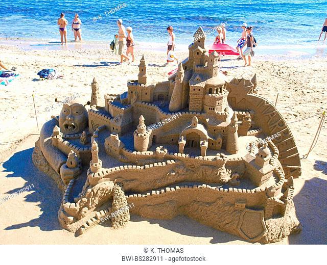 elaborate sandcastle at the beach, Spain, Andalusia, Playa Malaga