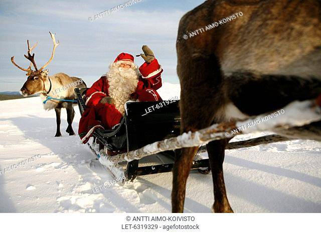 Father Christmas with reindeers at Saariselkä, Finnish Lapland  Finland
