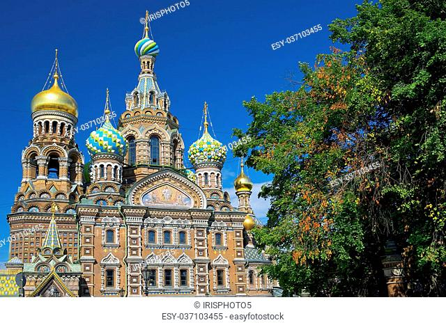 unusual domes of the Church of the Savior on Spilled Blood, St. Petersburg, Russia