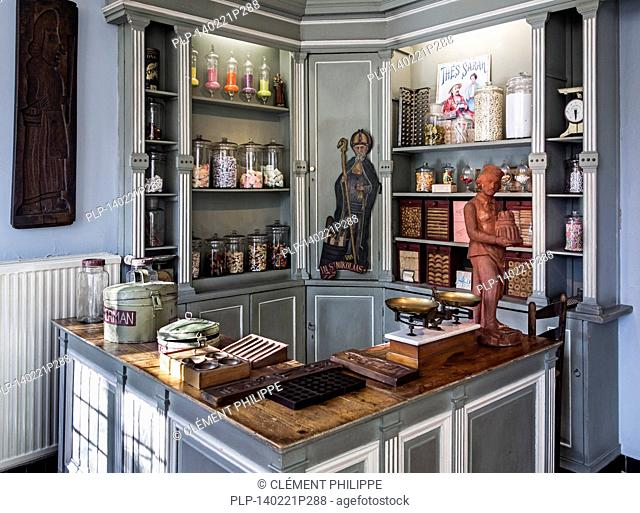 Confectionery in old candy store of the early twentieth century at the House of Alijn museum, Ghent, Belgium