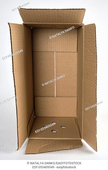 open brown paper box on white background