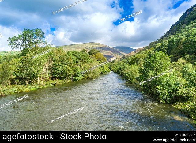 River Glaslyn flowing towards Pont Aberglaslyn, Beddgelert North Wales UK. August 2020