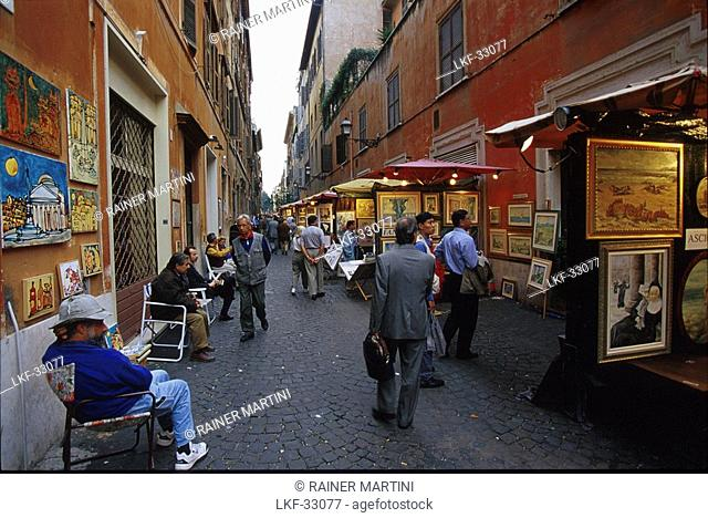 People looking at pictures in an alley, Via Margutta, Rome, Latio, Italy, Europe