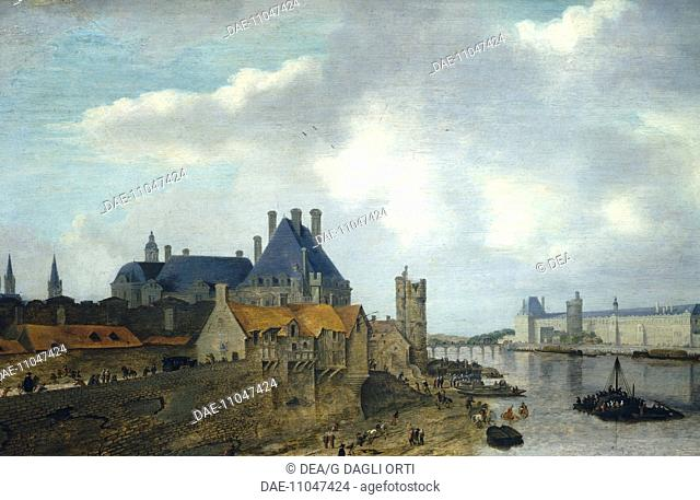 The Hotel de Nevers and the Louvre in Paris, by A. de Verwer (1585-1650), France 17th Century.  Paris, Hôtel Carnavalet (Art Museum)