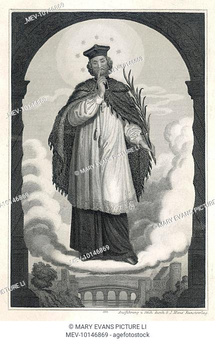 SAINT JOHN OF NEPOMUK Bohemian priest who quarrelled with king Wenzel IV, who had him tortured then murdered and thrown into the Moldau