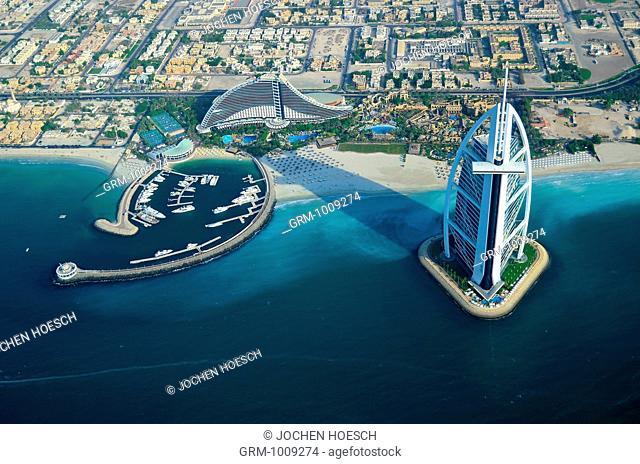 Aerial view of Burj Al Arab and Jumeirah Beach Hotel, Dubai, UAE
