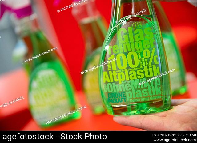 12 February 2020, Bavaria, Nuremberg: A label made of waste plastic on a bottle of glass cleaner made of waste plastic is exhibited at the stand of the German...