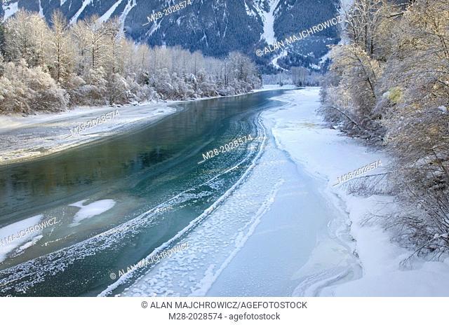 Ice along the Lillooet River near Pemberton, Coast Mountains British Columbia