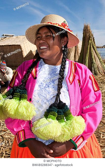 Uro woman with traditional hair decoration, Peru, Titicaca