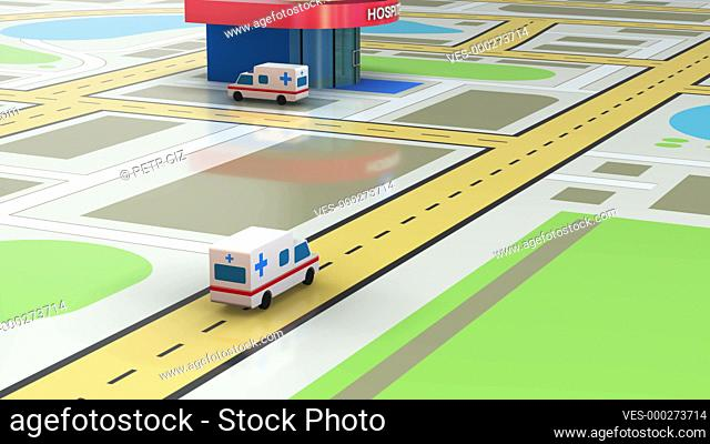 Emergency ambulance transport with heliport hospital 3D video animation