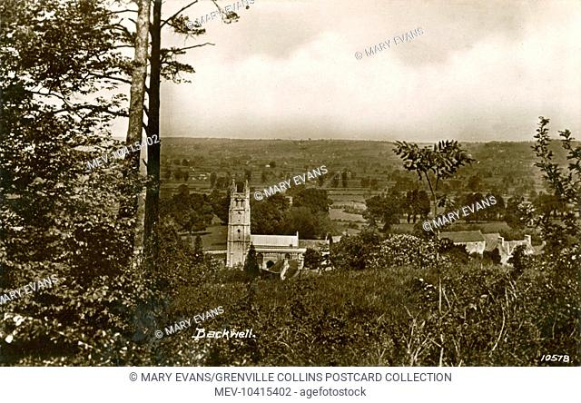 Attractive rural view looking down on the village of Backwell, Somerset, near Bristol, the scene dominated by the tower of the impressive 12th century medieval...