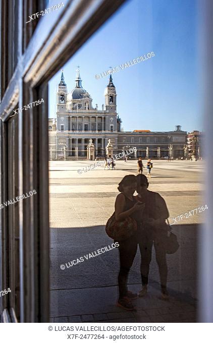 Cathedral of Santa María la Real de La Almudena and courtyard of Royal Palace, Madrid, Spain