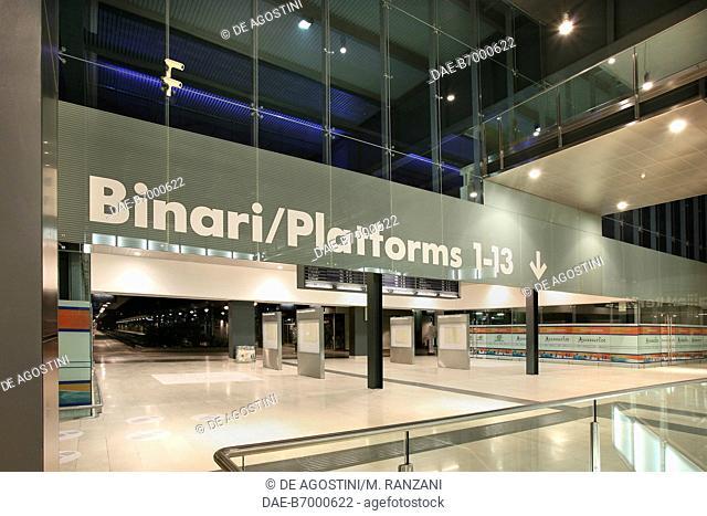 Entrance to the platforms, Milano Porta Garibaldi railway station (at night) in September 2005 after renovation work, Lombardia, Italy