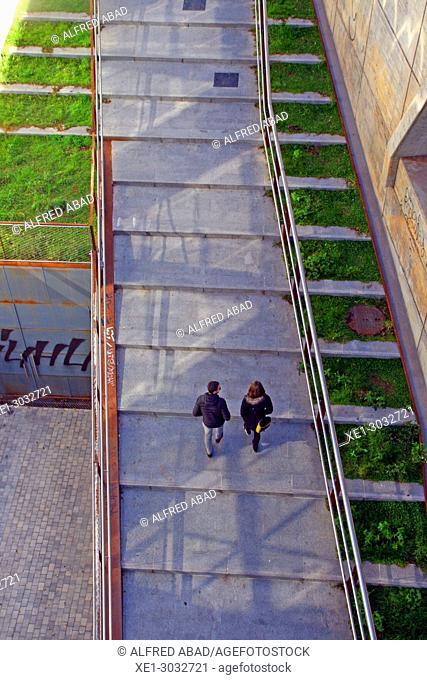 street with slope, Barcelona, Catalonia, Spain