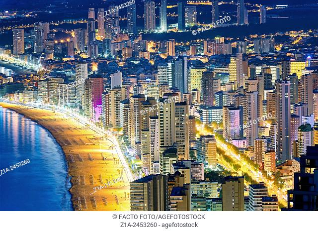 Aerial view of the east beach and the skyline by night. Benidorm. Alicante. Valencia Community. Spain