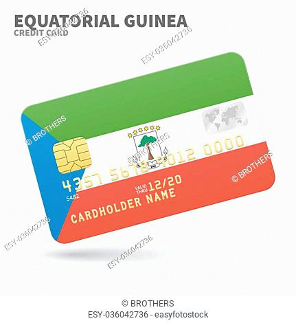 Credit card with Equatorial Guinea flag background for bank, presentations and business. Isolated on white background vector illustration