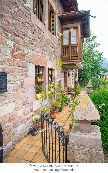 Facade of house. Carrejo, Cantabria, Spain