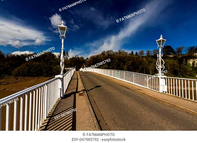 Old road bridge over River Wye connecting Chepstow, Wales and Tutshill England