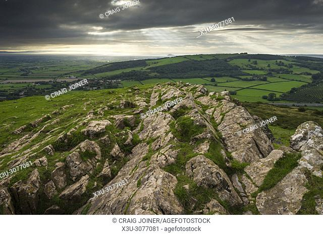 The limescale outcrop at Crook Peak on the Mendip Hills near Compton Bishop, Somerset, England
