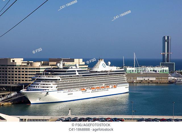 Ocean cruiser at port  Barcelona  Spain