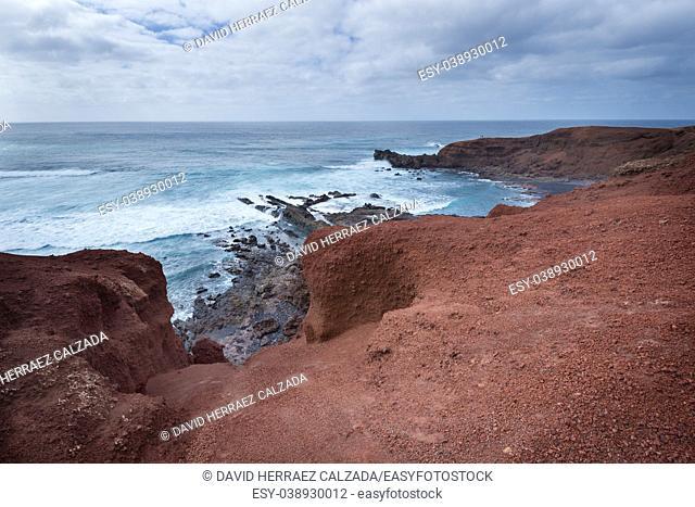 Volcanic coastline landscape in Lanzarote, Canary islands, Spain