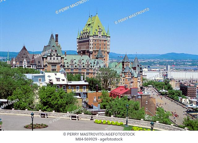 Château Frontenac and old Quebec city skyline. Quebec Province. Canada