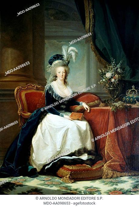 Marie Antoinette with a book (Marie Antoinette avec un livre), by Elisabeth Vigée-Le Brun, 1788, 18th Century