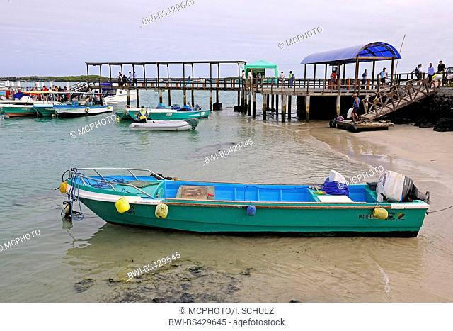boats and pier in port of Puerto Villamil, Ecuador, Galapagos Islands, Isabela