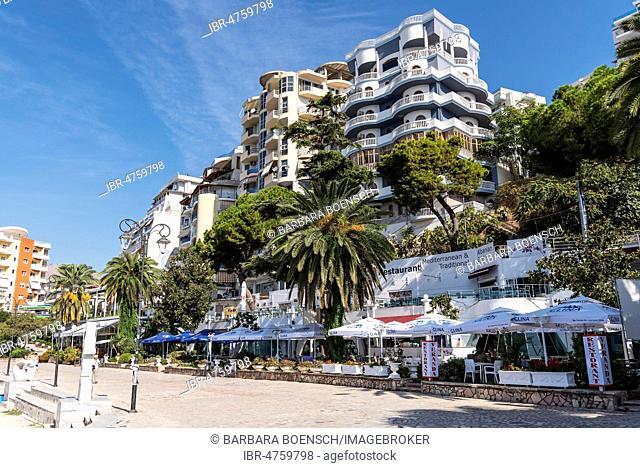 Restaurants, promenade, Saranda, Albania