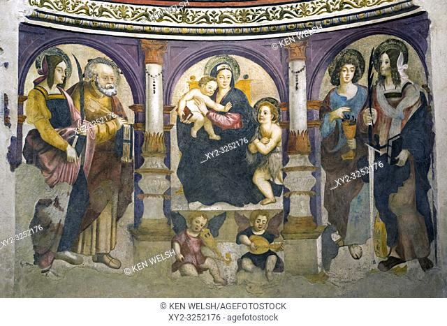 Aosta, Aosta Valley, Italy. Cathedral of Santa Maria Assunta. The Altar of St. Lucia. Fresco by Pierre Gazin, painted circa 1526-1530